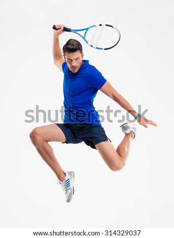 Full length portrait of a man playing in tennis isolated on a white background - stock photo