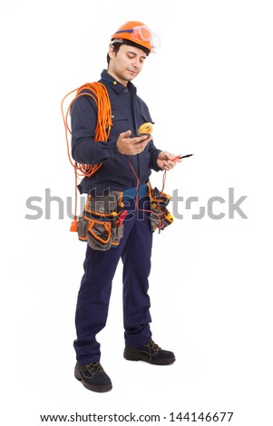 Full length portrait of a manual worker - stock photo