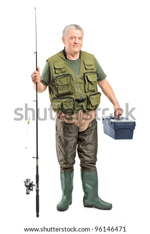 Full length portrait of a mature fisherman holding a fishing equipment isolated on white background - stock photo