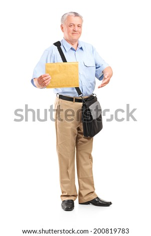 Full length portrait of a mature mailman holding an envelope isolated on white background - stock photo
