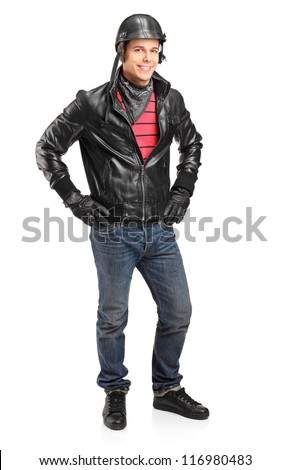 Full length portrait of a motorcycler with helmet posing isolated on white background - stock photo