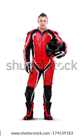 Full length portrait of a motorcyclist biker in red equipment holding helmet isolated on white background - stock photo