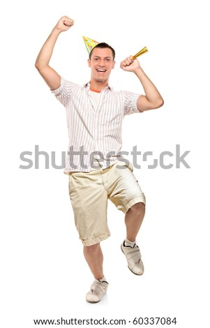 Full length portrait of a party person celebrating isolated against white background - stock photo