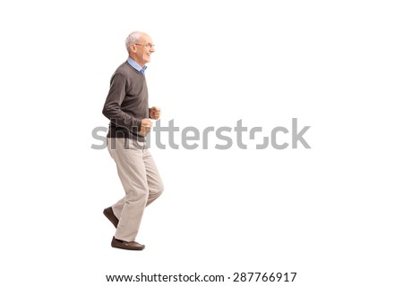 Full length portrait of a senior man in casual clothes running and smiling isolated on white background  - stock photo