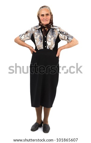 Full length portrait of a senior woman isolated on white background - stock photo