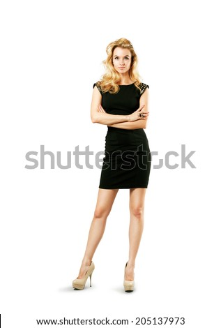 Full Length Portrait of a Sexy Blonde Woman in Little Black Fashion Dress Isolated on White - stock photo