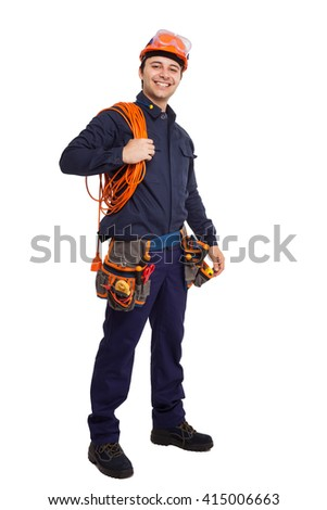 Full length portrait of a smiling engineer - stock photo