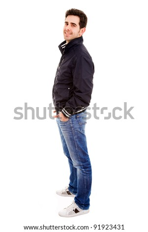 Full length portrait of a smiling young man on white background - stock photo