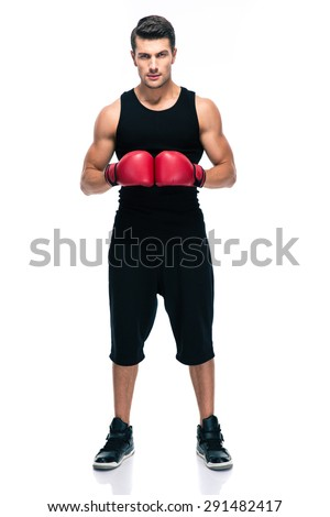 Full length portrait of a sports man with red boxing gloves isolated on a white background - stock photo