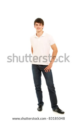 Full length portrait of a stylish young man isolated on white background - stock photo
