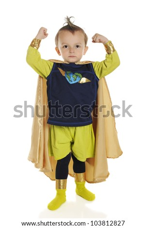 Full length portrait of a tiny superhero showing his muscles.  On a white background. - stock photo