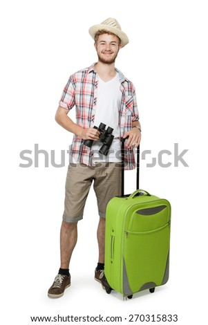 Full length portrait of a tourist man with suitcase and binoculars isolated on white background - stock photo
