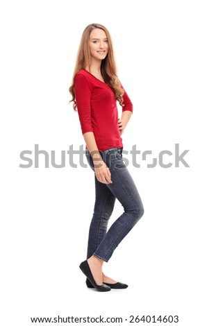 Full length portrait of a young brunette woman in casual clothes posing isolated on white background - stock photo
