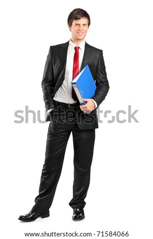 Full length portrait of a young businessman holding documents isolated on white background - stock photo