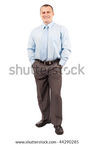 Full length portrait of a young businessman isolated on white background - stock photo