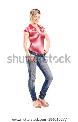 Full length portrait of a young girl posing isolated on white background - stock photo