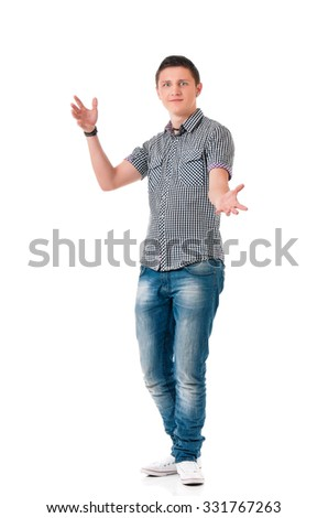 Full length portrait of a young happy man, isolated on white background - stock photo