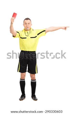 Full length portrait of an angry football referee showing a red card and pointing with his hand isolated on white background - stock photo