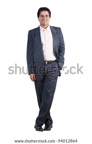 full length portrait of an Indian businessman, biracial businessman isolated on white - stock photo