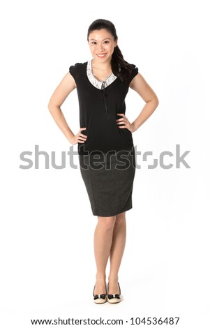 Full length Portrait of Asian Business woman. Isolated on white background. - stock photo