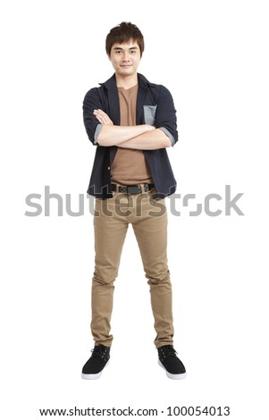 Full length portrait of Asian young man and isolated on white - stock photo