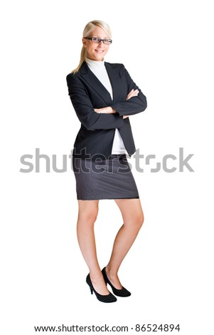Full length portrait of attractive elegant business woman isolated on white background. - stock photo