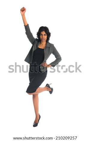 Full length portrait of attractive Indian businesswoman white background  - stock photo