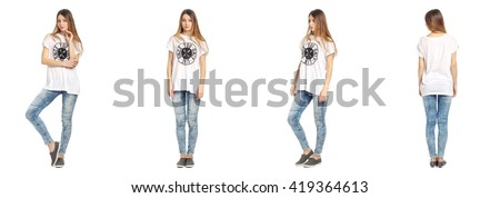 Full length portrait of beautiful teen in jeans isolated - stock photo