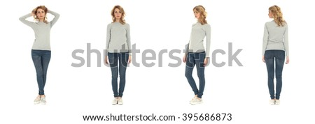 Full length portrait of beautiful woman in blouse and jeans - stock photo