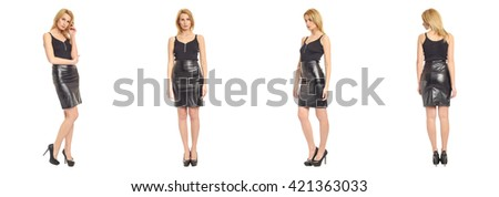 Full length portrait of beautiful woman in  skirt - stock photo