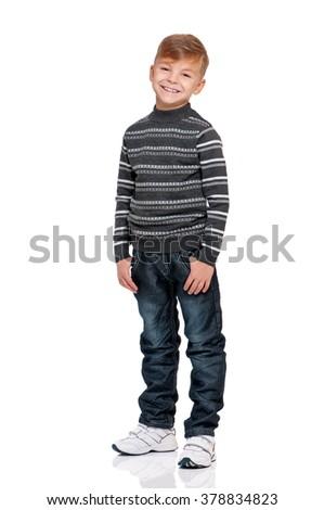 Full length portrait of boy, isolated on white background - stock photo