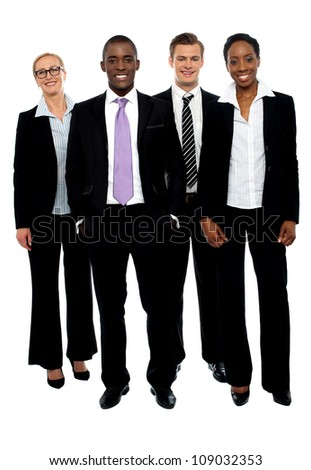Full length portrait of business colleagues posing against white background - stock photo