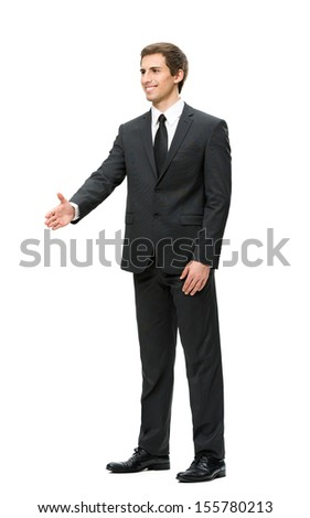Full-length portrait of businessman handshake gesturing, isolated on white. Concept of leadership and cooperation - stock photo