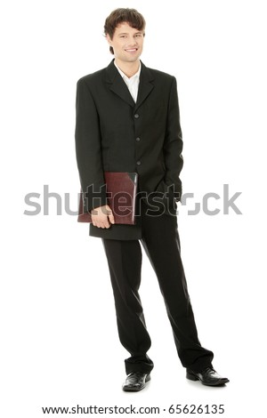 Full length portrait of businessman, isolated - stock photo