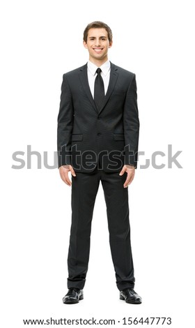 Full-length portrait of businessman, isolated on white background. Concept of leadership and success - stock photo