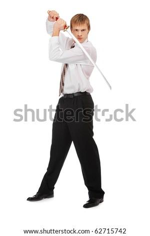 full-length portrait of businessman with katana on white - stock photo