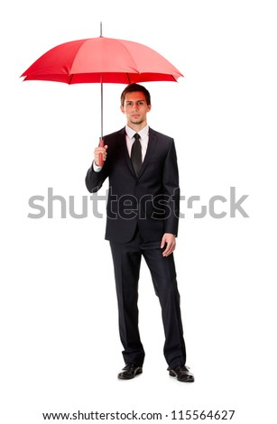 Full length portrait of businessman with opened umbrella, isolated on white - stock photo