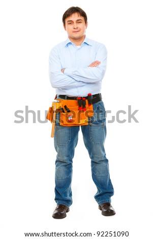 Full length portrait of construction worker - stock photo