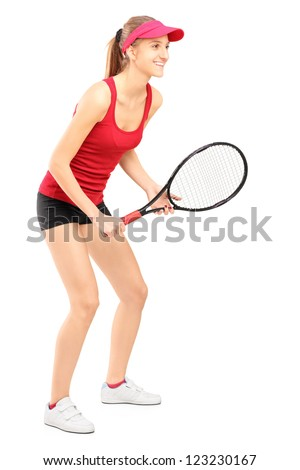 Full length portrait of female tennis player ready to play isolated on white background - stock photo