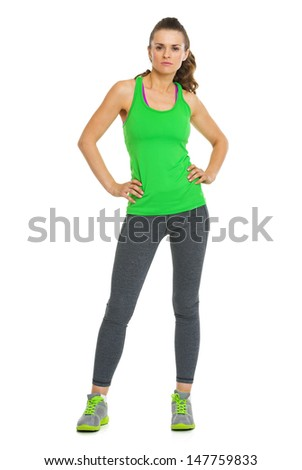 Full length portrait of fitness young woman - stock photo
