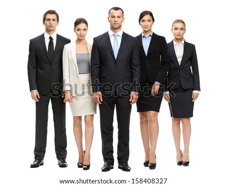 Full-length portrait of group of business people, isolated on white. Concept of teamwork and cooperation - stock photo
