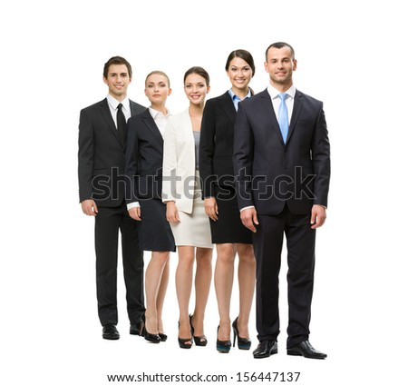 Full-length portrait of group of managers, isolated. Concept of teamwork and cooperation - stock photo