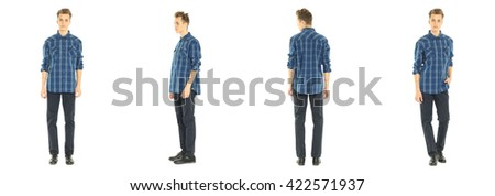 Full length portrait of handsome boy in jeans isolated - stock photo