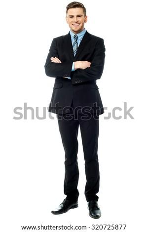 Full length portrait of handsome entrepreneur - stock photo