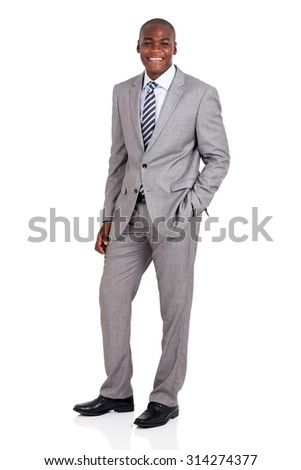 full length portrait of handsome young african businessman - stock photo