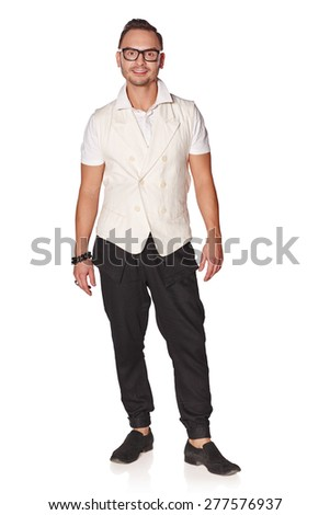 Full length portrait of handsome young man feeling relaxed and carefree, isolated on white background - stock photo