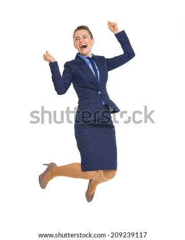 Full length portrait of happy business woman jumping - stock photo