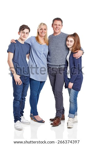Full length portrait of happy caucasian family of four standing together on white background - stock photo