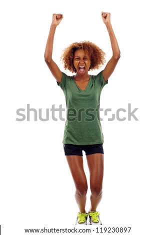 Full length portrait of happy excited black girl jumping with arms extended isolated over white background - stock photo