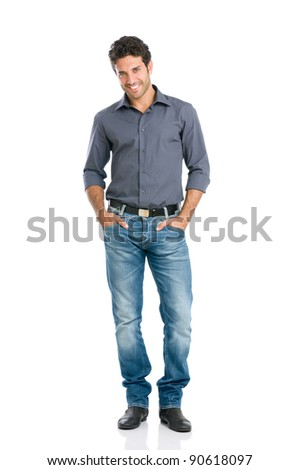 Full length portrait of happy handsome young man isolated on white background - stock photo